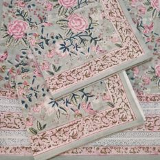 cotton hand block print bed sheet
