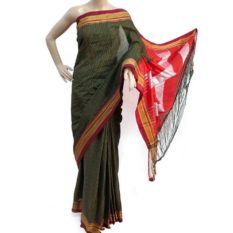 Ilkal Soot Black-Orange Small Checks Cotton SIlk Saree