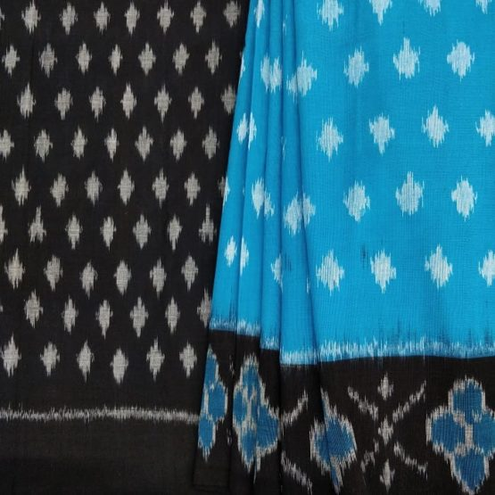 Dot Patterned Blue Saree with Black Pallu Online