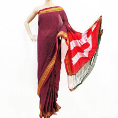 Ilkal Ink Black-Maroon Small Checks Cotton Silk Saree
