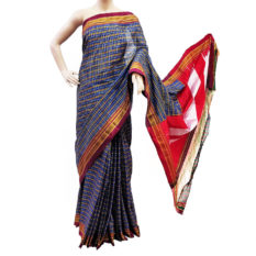 Ilkal Royal Blue-White Small Checks Cotton Silk Saree