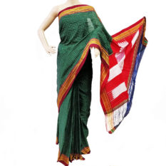Ilkal Forest Green-White Small Checks Cotton Silk Saree