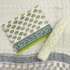 Floral Motif Cotton Salwar Suit Material with Chiffon Dupatta - White-Green