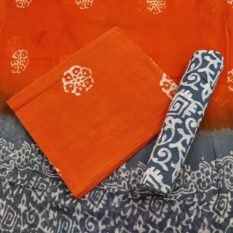 Floral Creeper Motif Cotton Salwar Suit Material with Chiffon Dupatta - Orange-Grey