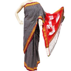 Ilkal Soot Black-White Small Checks Cotton Silk Saree