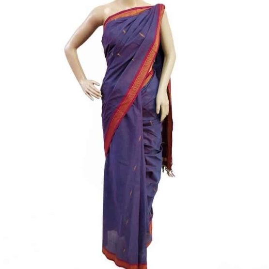 Cotton Blue-Maroon Udupi Saree