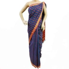 Blue-Red-Yellow Coloured Udupi Cotton Saree - GI tagged
