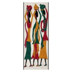 GiTAGGED Pipli Applique Tribal Women Carrying Pot Multicolor Wall Hanging 1